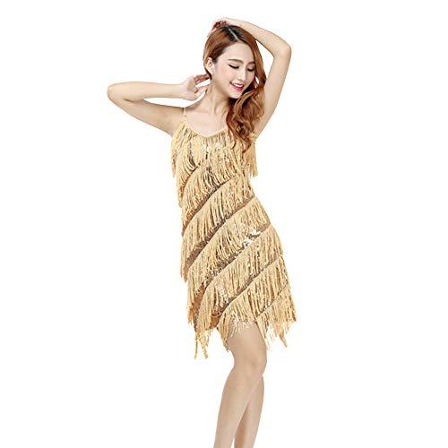 Amphia Latein KostüM Damen Bead Sequined Quaste Röcke,Frauen Classic Latin Rock Praxis Kleid Dance KostüM Tanzwettbewerb Performance Dress (Aprikose, One ()