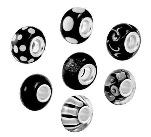 Preisvergleich Produktbild Akki Murano Glasperlen chrams Glas Beads verschidenen Farben Bead Element Solid aus Muranoglas auch passend kompatibel mit Pandora Kette und Armbänder - kult Bead 7stück Set beads Schmuck Schwarz