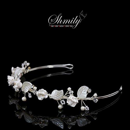 shmily pura mano boda perlas brillantes Diadem Diadema de pelo cabello novia joyas plata nuevo dh2004