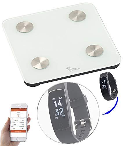 newgen medicals 7in1-Körperanalysewaage mit Premium-GPS-Fitness-Armband FBT-120.HR