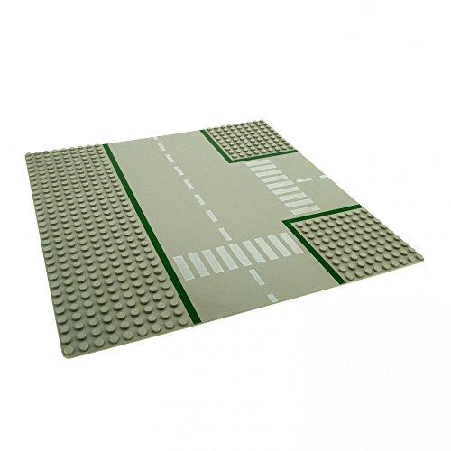 1 x Lego System Bau Platte 9N T Kreuzung hell grau 32 x 32 Noppen Straße Zebrastreifen 608p01 - Lego Bau Platte Graue