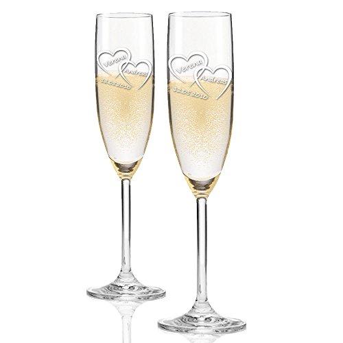 2x Leonardo Sektglas mit kostenloser Gravur als Hochzeitsgeschenk | Gastgeschenke | Geschenke zur Hochzeit mit Ihrer Wunsch-Gravur