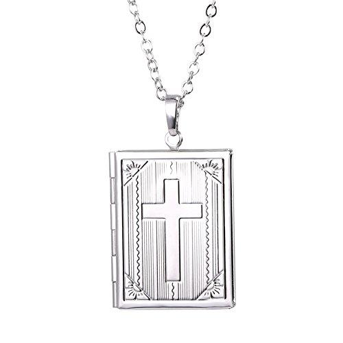 U7 Rechteck Anhänger platiniert Bibel Kreuz Bild Foto Medaillon Halskette Amulett Geschenk Kettenanhänger zum Öffnen für Bilder