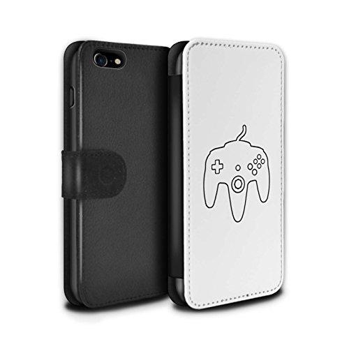 Stuff4 Coque/Etui/Housse Cuir PU Case/Cover pour Apple iPhone 8 / Pack 20pcs Design / Manette Jeux Vidéo Collection N64 Blanc