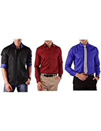 Premium Combo Of 3 Party Wear Shirts For Men By Mark Pollo London(Black,Mehrun,Blue)