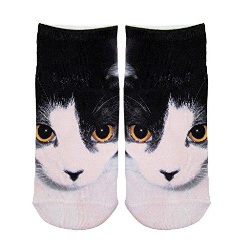 Vívida Impreso Blanco y Negro Gato Aptos Casuales Corto Tramo Calcetines Para Niñas