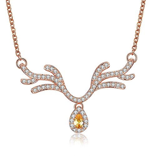 Bishilin Weihnachten Vergoldet Rosegold Halskette Damen Geweih mit Zirkonia Gelb Anhänger Kette Rosegold Weihnachten