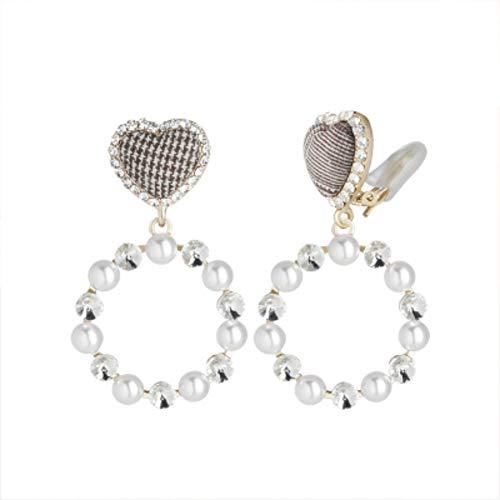 Zxx jewelry orecchini pendenti a forma di cuore adorabili da donna cristalli di perle in stile britannico modifica di contorni del viso orecchini con orecchini orecchini traforati,clipearrings