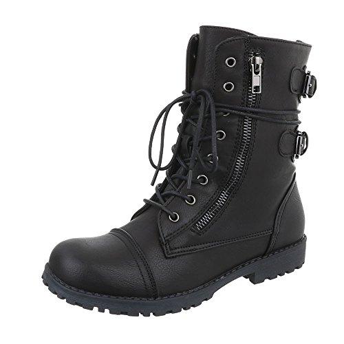 Ital-Design Stiefel & Boots Damen-Schuhe Klassischer Stiefel Blockabsatz Mädchen Reißverschluss Stiefeletten Schwarz, Gr 34, 3360-1-