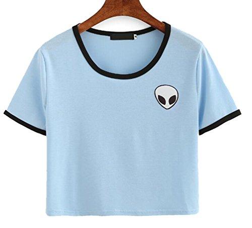 YouPue Damen T-Shirts Aliens Druck Kurzarm Crop Tops Sommer Himmel Blau