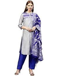 ab335a3a80 Jaipur Kurti Women Grey & Royal Blue Solid Straight Chanderi Kurta with  Patiala & Dupatta