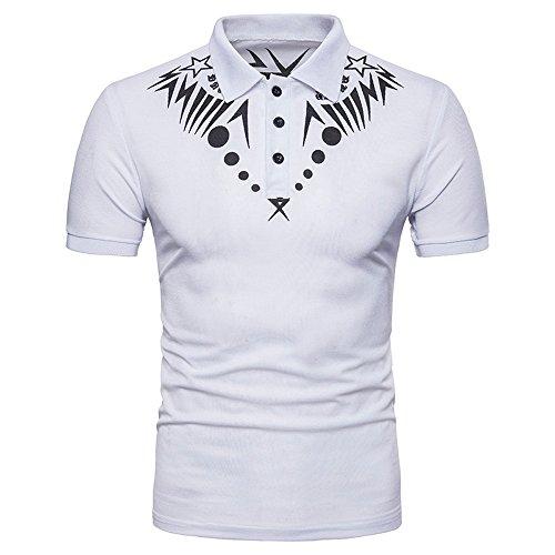 rren, Mode Herren Sommer Casual Ethnisches Druck-Polo-Hemd der Männer Kurzarm Shirt Top Bluse (M, Weiß) (Walking Dead Kostüme 2017)