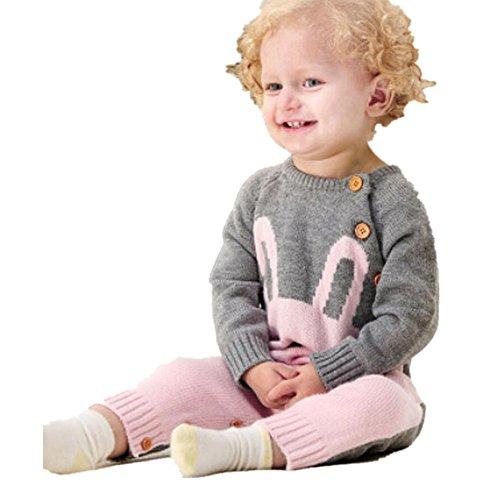Kleinkind Kinder, DoraMe Neugeborenen Baby Jungen Mädchen Langarm Strick Strampler Cartoon Kaninchen Mantel Overall für 6-24 Monate (Rosa, 18 Monate) (Halloween Cartoons Für Babys)