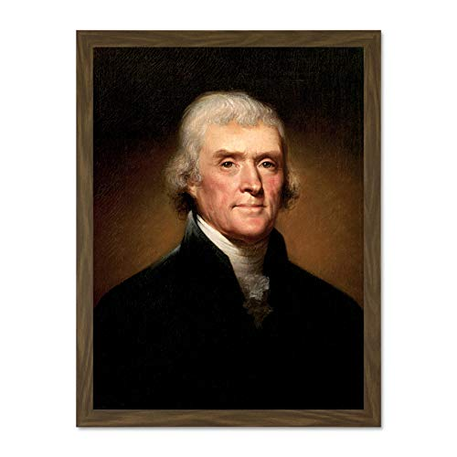 Doppelganger33 LTD Painting Founding Father President Thomas Jefferson Large Framed Art Print Poster Wall Decor 18x24 inch Supplied Ready to Hang Malerei Präsident Wand Deko -
