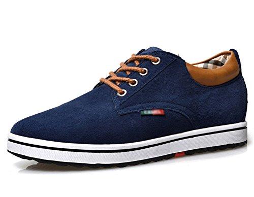 Zapatillas de Hombres de Cuero de Ante de Cuero Genuino para Hombres Aumento de la Altura de Zapatos para Hombre (42, Azul)