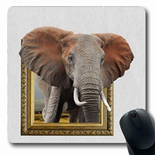 Luancrop Mousepads Old Elephant Holzrahmen Wildlife 3 Effekt 3D Stil Oblong Gaming Mouse Pad rutschfeste Gummimatte