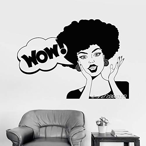 Modeganqingg Friseursalon Friseur Wandaufkleber Afrikanische Frisur Wow Aufkleber Abnehmbarer DIY Selbstklebender Wandtattoo Schwarz 72X96cm