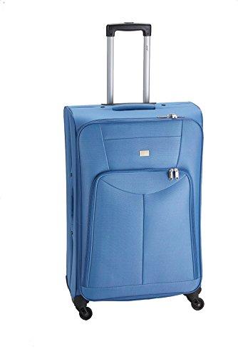 PURE Koffer BASIC / Trolley mittel (M) / Reisegepäck / Weichgepäck / Reisekoffer / Superleicht / Vortasche / blau / 53 liter
