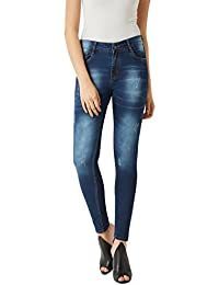 Miss Chase Women's Blue Skinny Washed Jeans