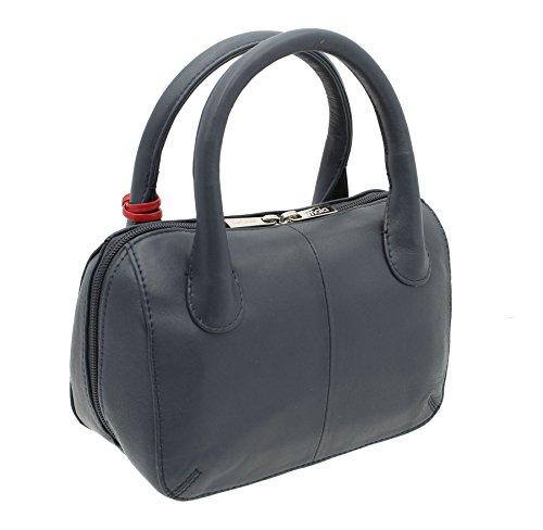 Borsa a mano Mala Leather ANISHKA Collection in pelle 774_75 Grigio Blu marino