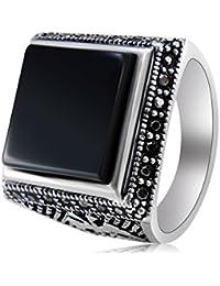 cb4639f8bf246a Yoursfs Bague Grosse plaqué Or Blanc Solitaire en Zirconium Noir carré  Chevalier et Cristal pour Homme