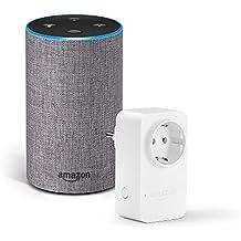 Amazon Echo (2.ª generación), tela de color gris oscuro + Amazon Smart Plug, compatible con Alexa