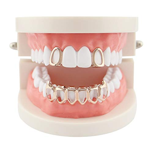 Rawalljs Hip Hop Zähne Grillz, 4 Farben Vampire Fangs Grills Set Single 6 Bottom Open Outline Zähne Hip Hop Grills (Farbe : Rose Gold) Fang Grillz Set