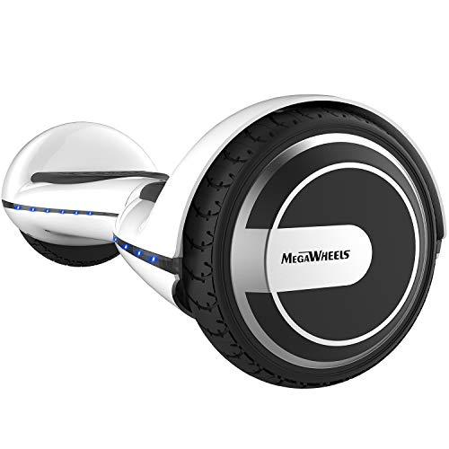 "M MEGAWHEELS 6.5"" Hoverboard - Patín Eléctrico con Altavoz/LED Luces, Alcance a 10km, Batería Durable para Adolescentes/Adultos - Blanco"