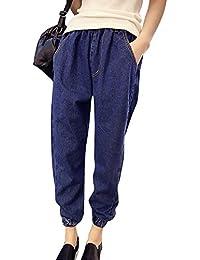 Pantalones Vaqueros Anchos Mujer Cintura Elástica Holgados Harem Pantalones  De Tallas Grandes a27e1f9a16b