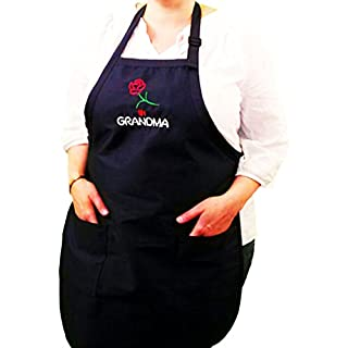 (A-GMA)# 1 Grandma Apron - Navy Blue Adjustable W/pockets Embroidered in the USA, By G4FF - Aprons for Men and Women