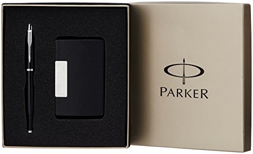 Parker IM Metal Black Chrome Trim Roller Ball Pen Gift Set - Blue Ink, with Card Holder  available at amazon for Rs.1320
