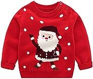 Niños Niñas Suéteres Navideños Manga Larga Jersey Papá Noel Pullover de Punto Sudadera Jumper Prendas de Punto