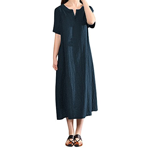 Brautjungfern Kostüm 80's - Junjie Damen Sommerkleid Plus Size Bohemia Casual Solid V-Ausschnitt Kurzarm Baumwolle Leinenkleid Elegant Vintage Strandkleid A-Linie Kleid Frauen Minikleid Sommer Party Ballkleid, S,  Navy