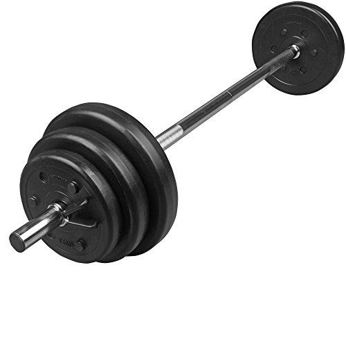 ScSPORTS 20 kg Langhantel-Set Kunststoff Hantelscheiben 2 x 1,25 kg + 2 x 2,5 kg + 2 x 5 kg