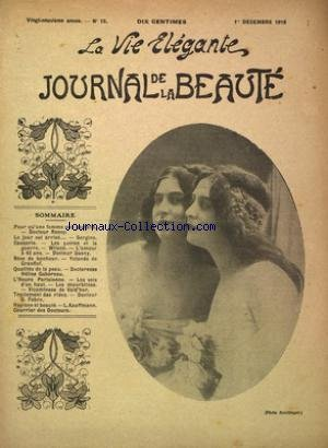 VIE ELEGANTE JOURNAL DE LA BEAUTE (LA) [No 12] du 01/12/1918