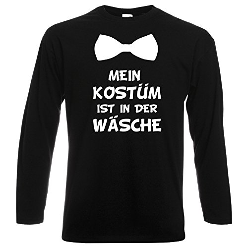 Langarm Shirt MEIN KOSTÜM IST IN DER WÄSCHE mit Fliege Karneval Fasching Verkleidung Party Schwarz (Druck Weiß) M (Lustige Langarm-shirts)