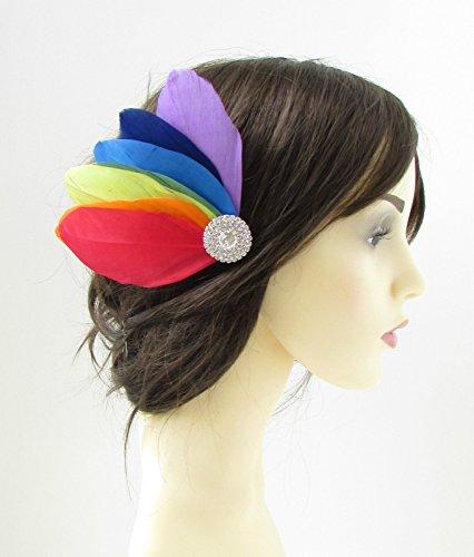 Arc-en-ciel plumes cheveux Clip Pride de mariée de mariage strass argent 129 * * * * * * * * exclusivement vendu par – Beauté * * * * * * * *