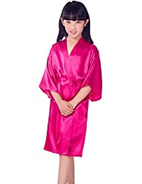 Jixin4you - Kimono de seda con cuello en V oblicuo para mujer y niña