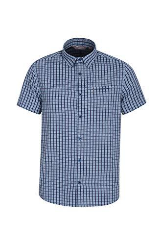 Mountain Warehouse Holiday Herren-Kurzarm Baumwollhemd - Pflegeleichtes Sommerhemd, Leichtes Freizeithemd, Oberteil Kurzarm-Shirt, Knopf-Hemd - Für Camping Indigo XX-Large