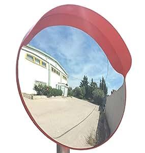 JCM-45o Convesso specchio infrangibile traffico, diametro 45 cm, per la sicurezza stradale e la sicurezza negozio con staffa di fissaggio regolabile per palo 48 mm