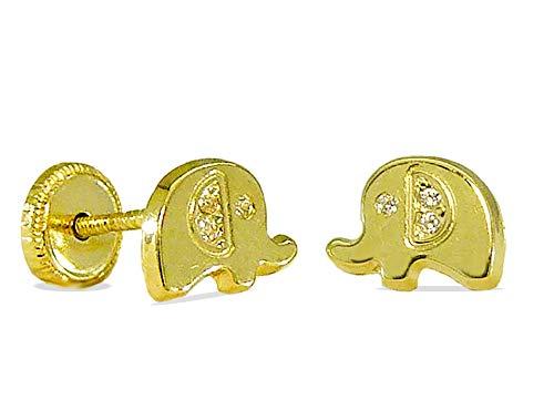 Pendientes niña-bebé elefantes de oro de 18 kilates y circonitas con cierre...