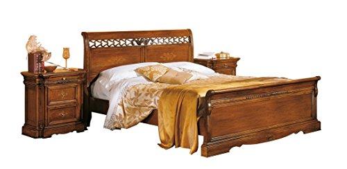 Bett klassisch aus Holz, Bett im Stil mit Intarsie Schnitzarbeit, Einrichtung Schlafzimmer klassisch elegant, Doppelbett Holz ohne Nachttische, aus Italien, Maße: cm 225 x 170 x 110 (h)