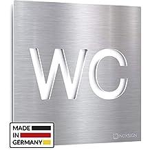 INOXSIGN Vintage WC-Schild C.05.R Made in Germany Selbstklebendes Retro Toiletten-Schild Unisex Kloschild klar erkennbar und werkzeuglose Montage Shabby chic