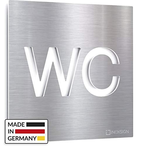 INOXSIGN Edelstahl WC-Schild - selbstklebend & pflegeleicht - Design Toiletten-Schild - W.01.E