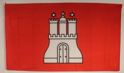 Flagge Fahne Hamburg 90x60 cm wetterfest und lichtecht für innen und aussen