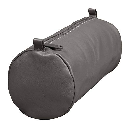 Clairefontaine 77035C Schlampermäppchen Age Bag (aus Leder, 22 x 8 cm, rund, groß, mit Metallverschluß) 1 Stück, grau