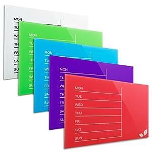 Tableau planning casa pura® Léa en 5 coloris | verre de sécurité, surface magnétique + inscriptible | planning semaine | taille 40x60cm, lilas