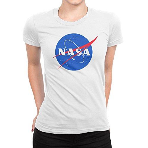 BLAK TEE Classic Space NASA Logo Damen T-Shirt S (Damen Tee V-neck Classic)