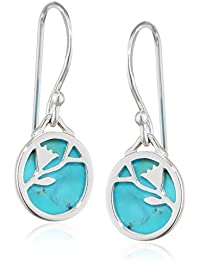 Elements Silver E3977T Ladies' Turquoise Disc Flower Pattern Sterling Silver Earrings