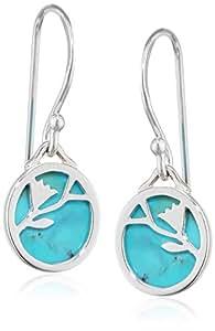 Elements Silver E3977T Ladies' Turquoise Disc Flower Pattern Sterling Silver Earrings